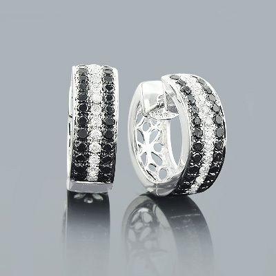 White Black Diamond Hoop Earrings 1.60ct 14K