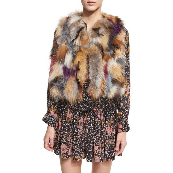 Zadig & Voltaire Sleeveless Fox Fur Bolero (17.900 CZK) ❤ liked on Polyvore featuring outerwear, jackets, parme, cropped bolero jacket, no sleeve jacket, cropped jacket, sleeveless jacket and fox jacket