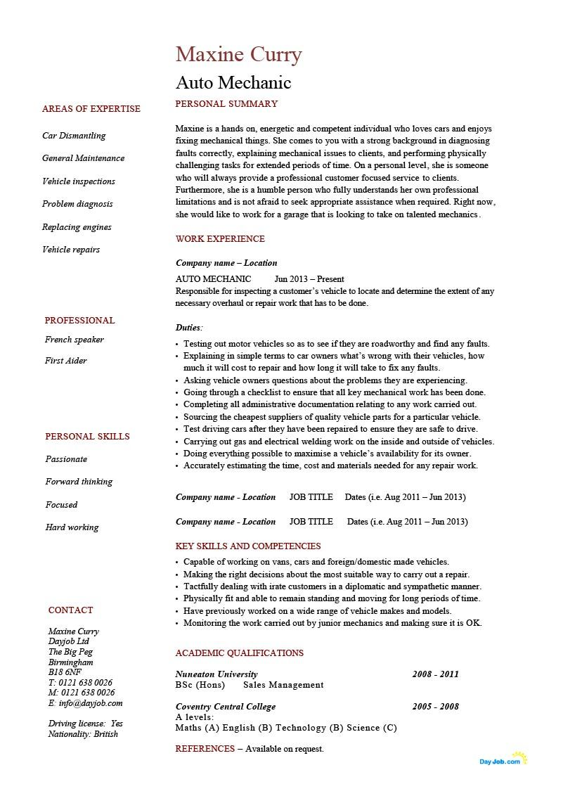 Auto Mechanic Resume Template Cv Example Job Description
