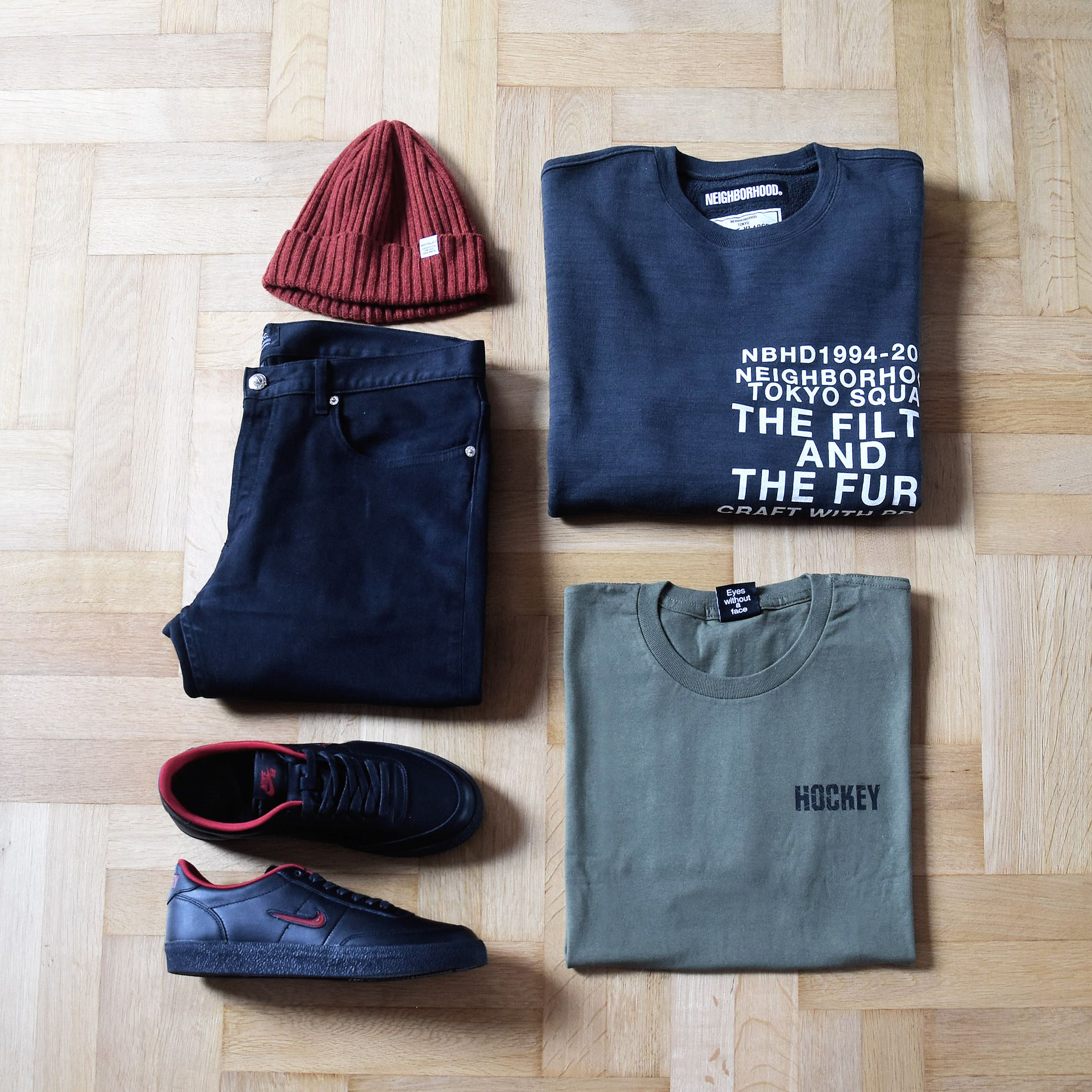 Outfitgrid Norse Projects Beanie Neighborhood Crewneck Hockey Skateboards Tee Apc Denim Nike X Hockey Shoes Skateboard Tee Hockey Shoes Fashion