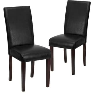 Leather Parsons Chair Black Lancaster Home Leather Dining