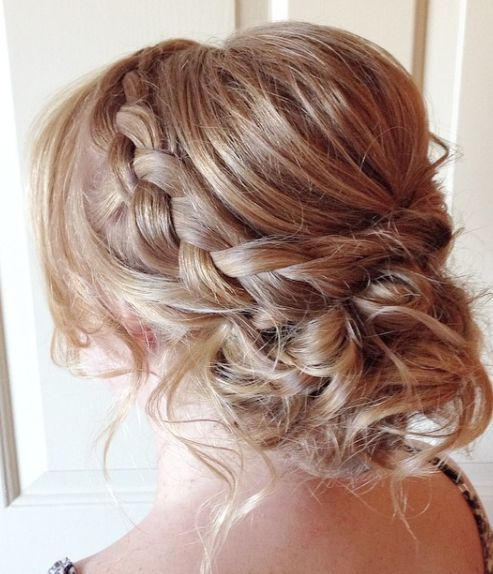 Messy Braided Low Updo Wedding Hairstyle