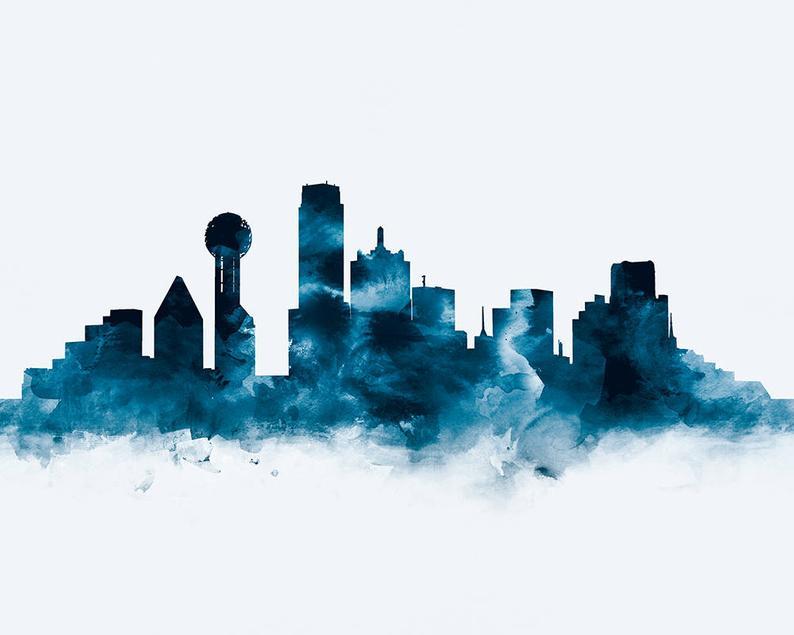 Dallas Print Dallas Skyline Dallas Art Watercolor Etsy In 2020 Dallas Skyline Skyline Art Skyline Painting