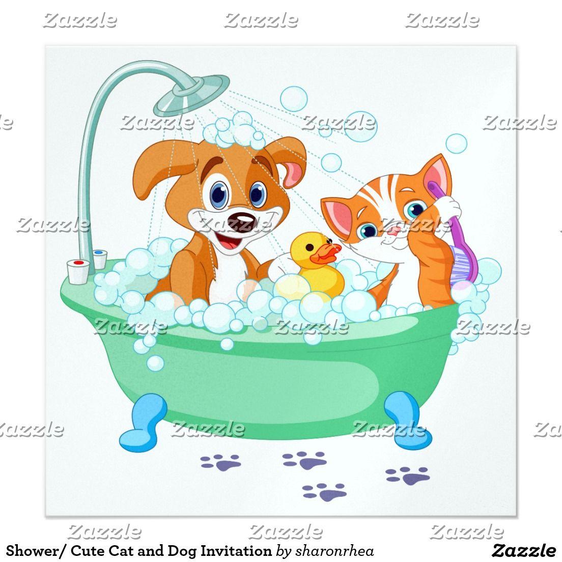Shower Cute Cat And Dog Invitation Zazzle Com Cute Cats And Dogs Very Cute Dogs Cute Cat
