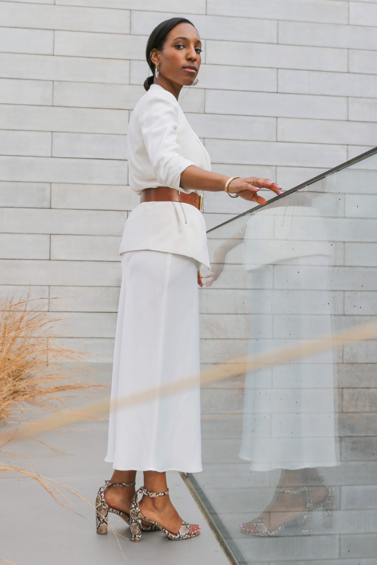 8d5c3d245c Spring neutrals monochromatic white outfit snakeskin heels TOPSHOP Satin  Bias Midi Skirt #TheStoriedLife Lana Jackson