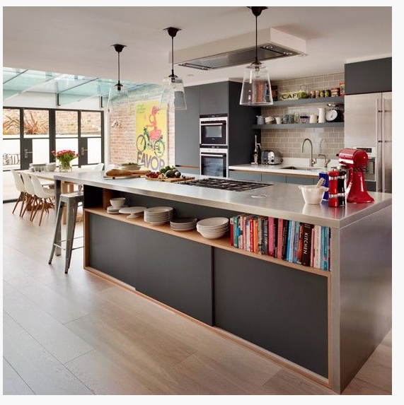 Like The Open Shelving On One Side Of The Kitchen Island