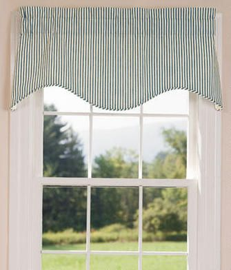 Insulated Ticking Stripes Scalloped Valance