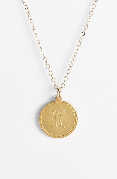 Women's Moon and Lola 'Dalton' Initial Pendant Necklace - Gold - K