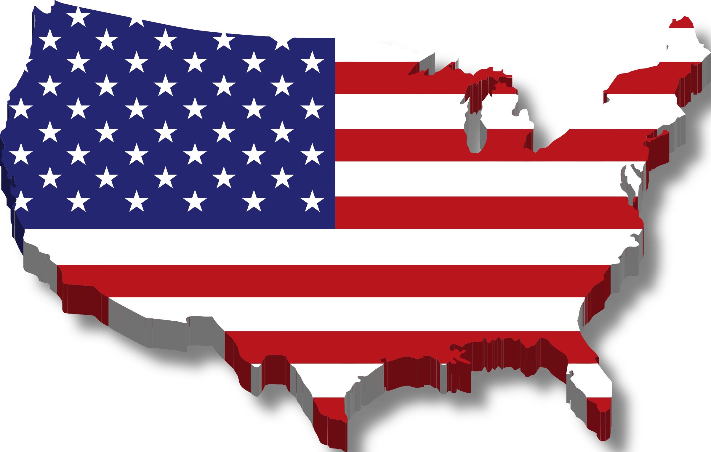 America Map Flag w/ Drop Shadow by @GDJ, Contiguous United