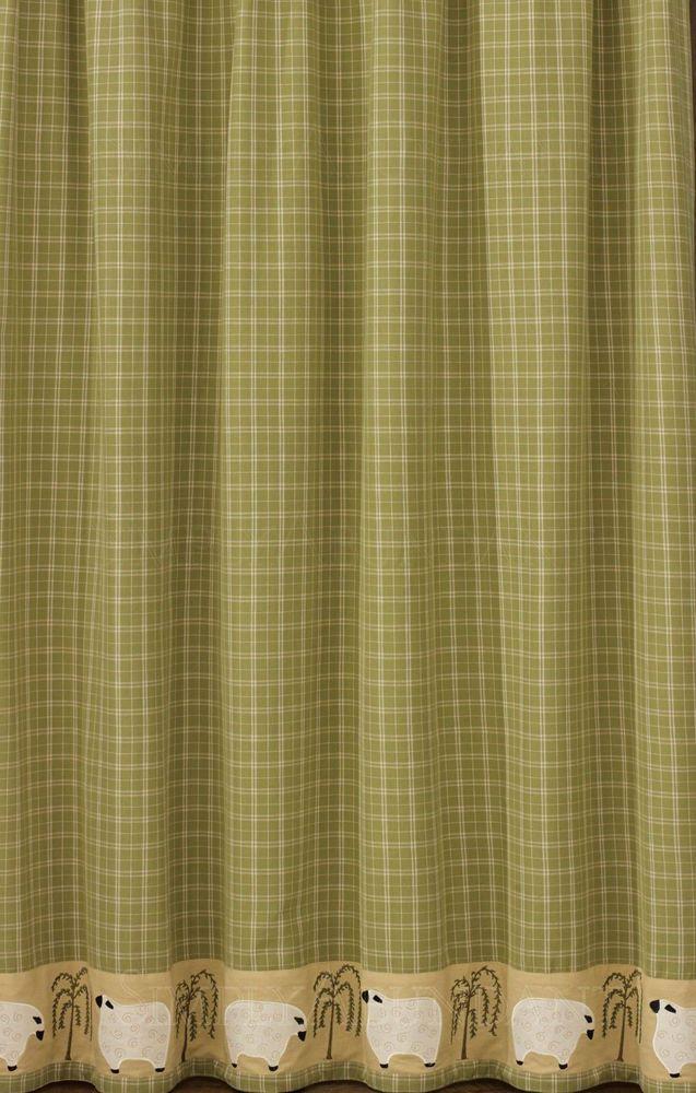 New Primitive Country Bathroom Sage Green Tan SHEEP BORDER Shower Curtain
