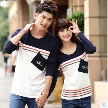 $11.90 Free Shipping-Lovers spring 2014 new Korean long-sleeved t-shirt  Korean