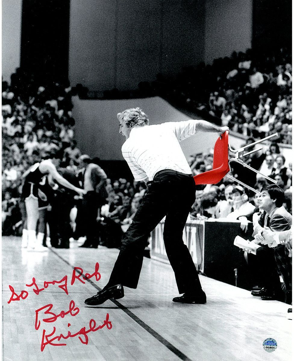 Bob Knight Signed Throwing Chair B&W w/ Red Chair 8x10 ...