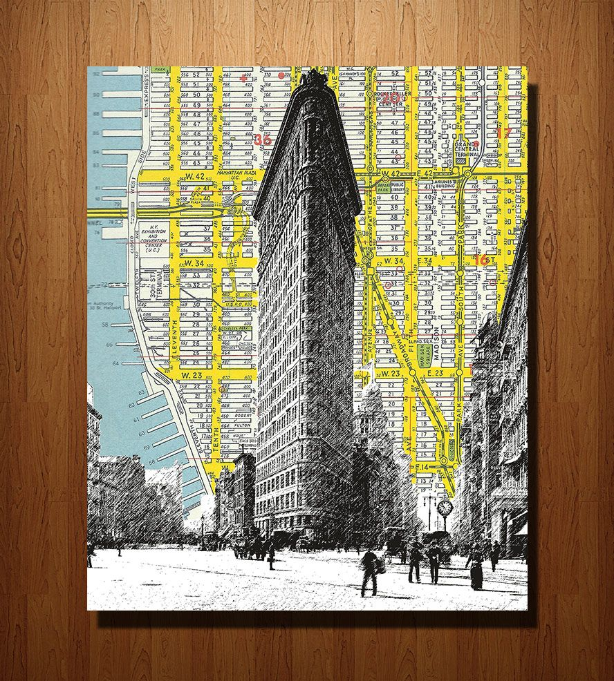 Flatiron Building  NYC Vintage Map Art Print Art Pieces - Nyc map art