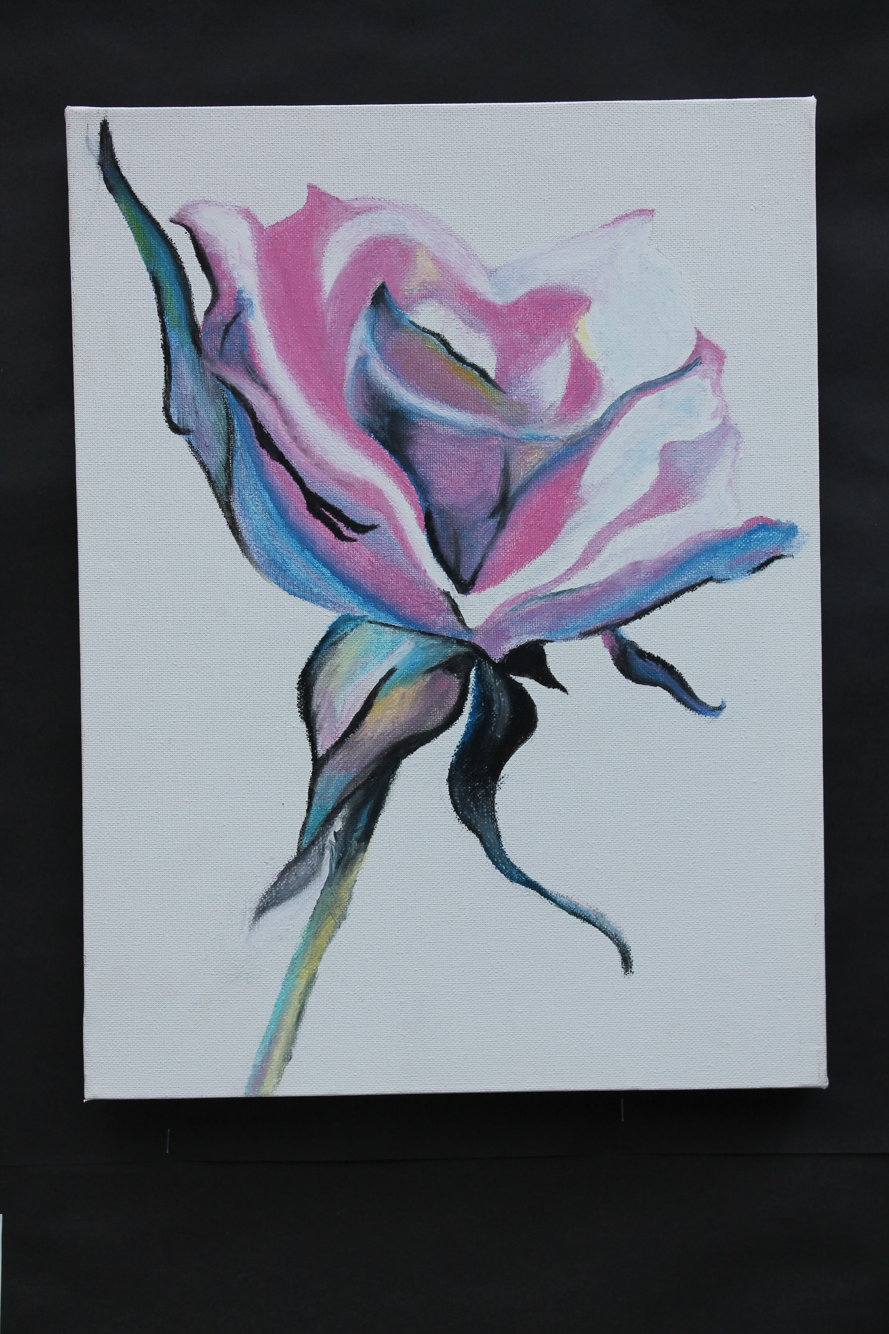 Oil Pastel And White Spirit Rose Painting Paintings