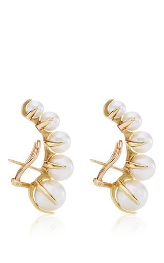 White Pearl And 18 K Yellow Gold Time Earrings By Ana Khouri Now Available On Moda