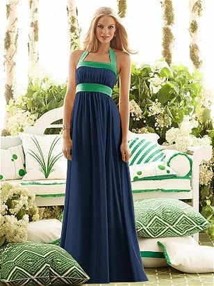 After Six Bridesmaid Dress 6566 in midnight and shamrock