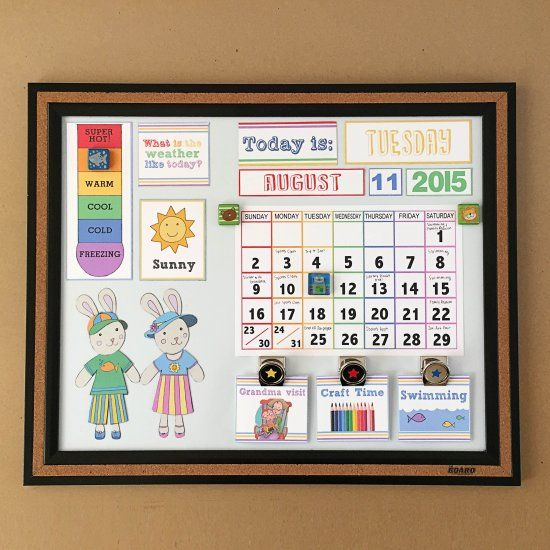 Create a calendar with DIY magnets to help teach your toddler about