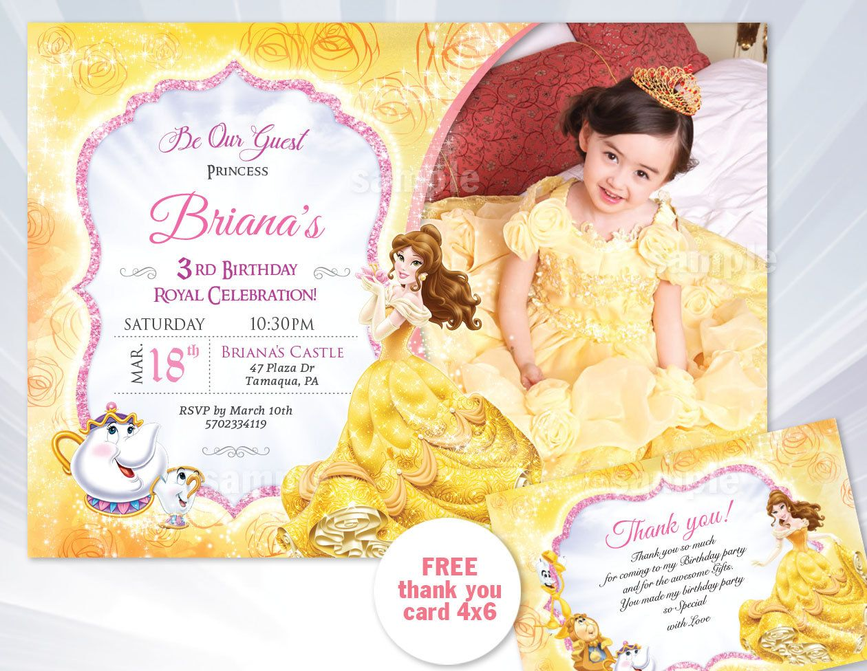 princess belle birthday invitation - Beauty and the Beast, Princess ...