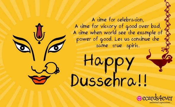 A time for celebration a time for victory of good over bad happy happy dussehra wishes greeting message card ecard image m4hsunfo
