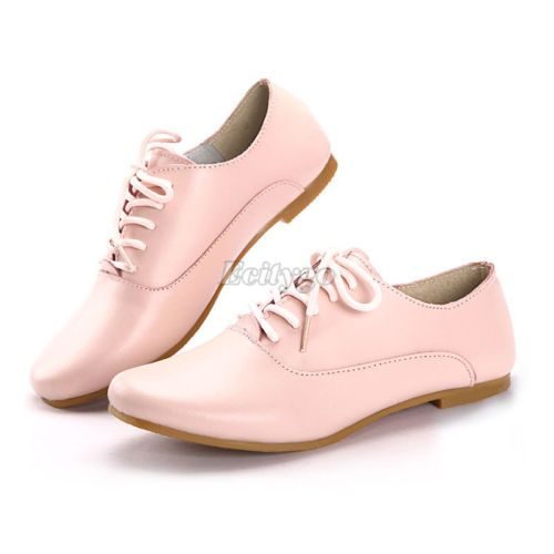 0252e98bfbbc3 Womens Ladies Vintage Brogue Lace Up Brogues Work Smart Office Flat Shoes |  eBay