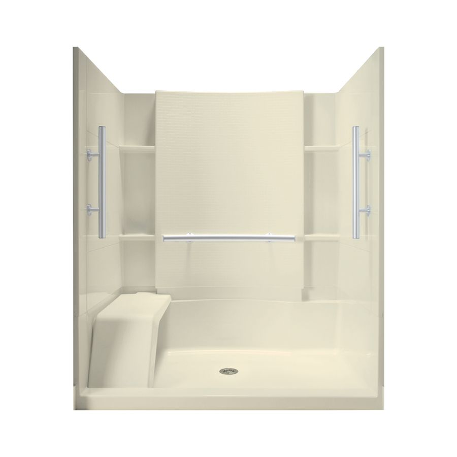 Sterling Accord Biscuit Vikrell Wall and Floor 4-Piece Alcove Shower ...