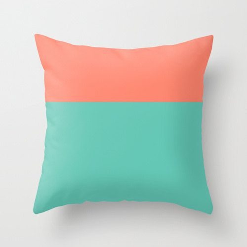 Peach And Seafoam Green Throw Pillow Cover Indoor Or Outdoor Pillow