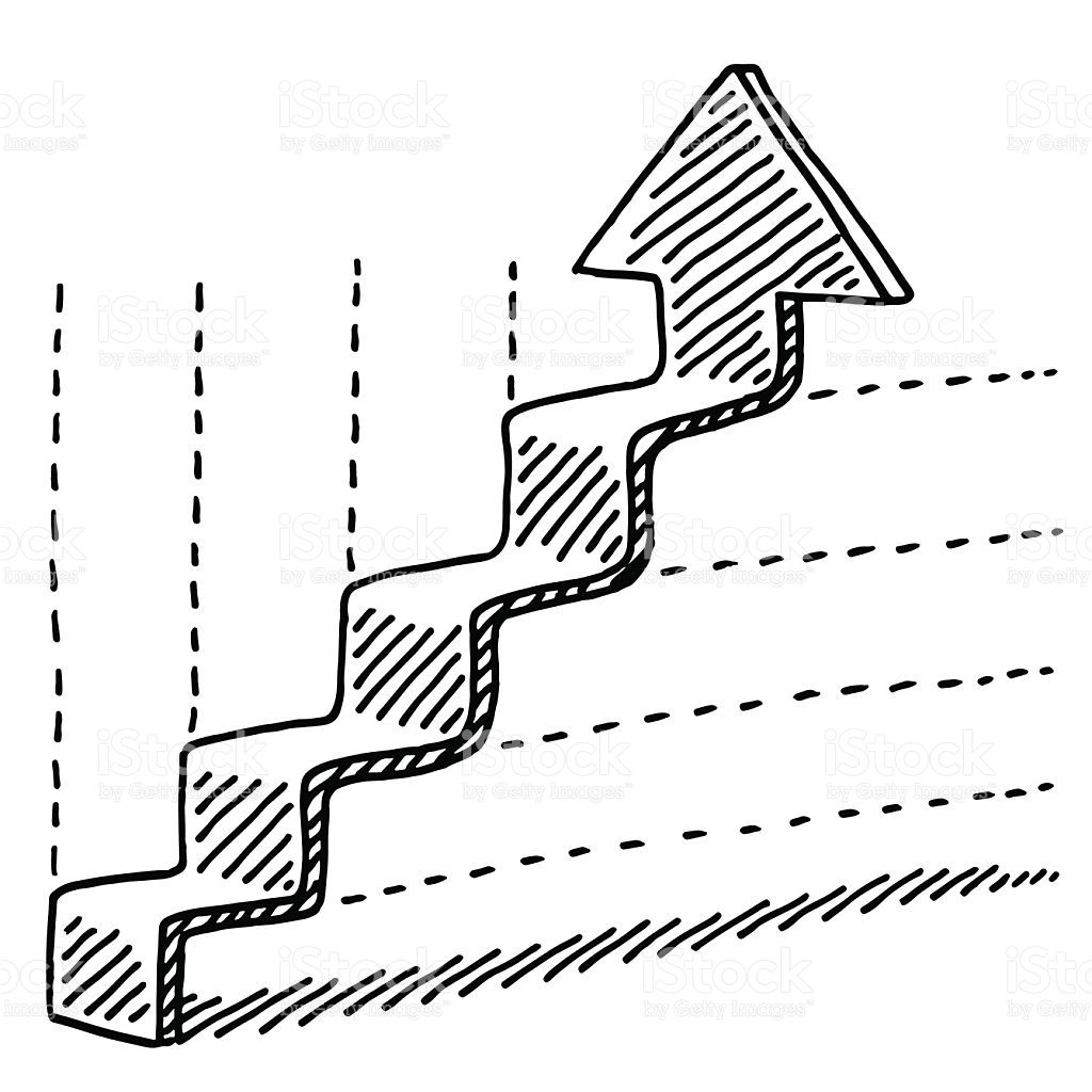 Hand Drawn Vector Drawing Of A Graph With A Steps Shaped Arrow