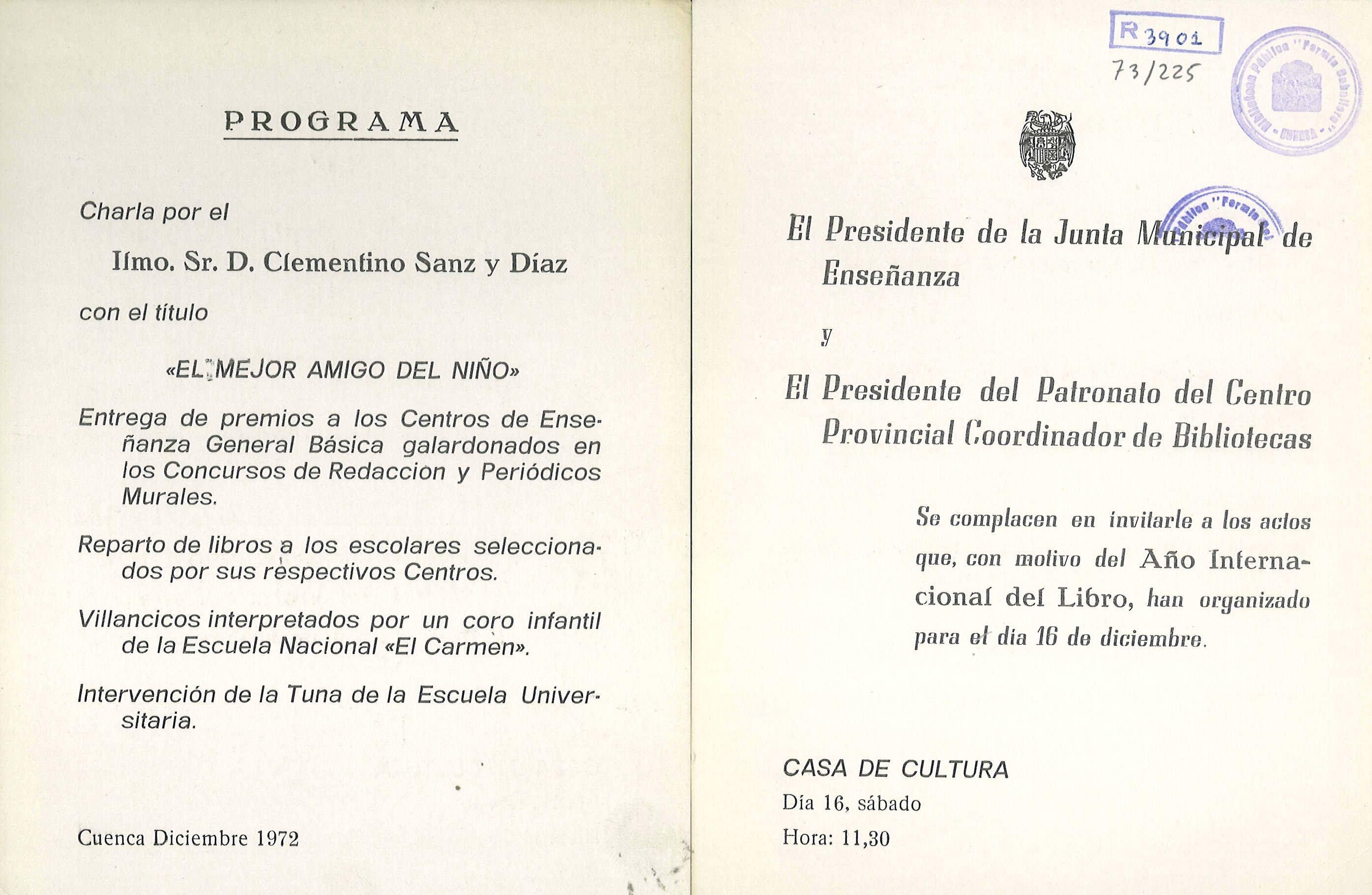 Actos con motivo del Año Internacional del Libro en la Casa de Cultura de Cuenca Diciembre 1972 Entrega de libros a los escolares seleccionados #Cuenca #Libros #DiasdeLibros #CasaCulturaCuenca