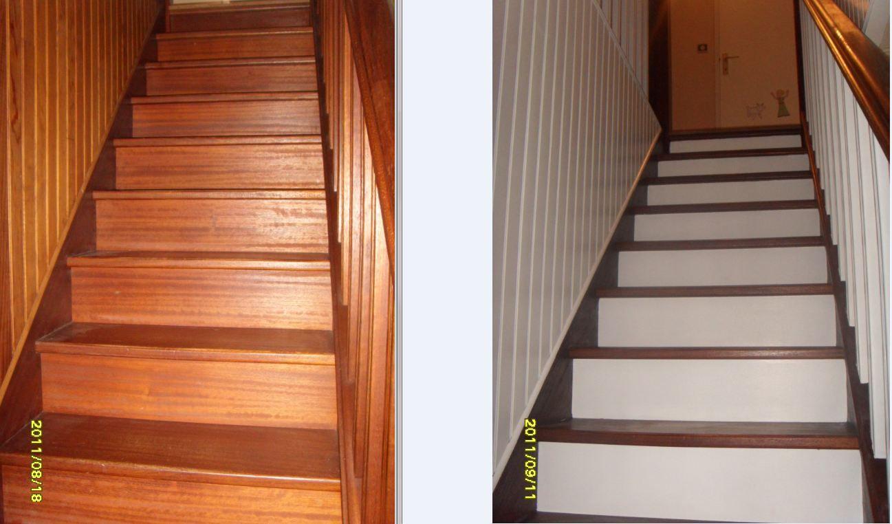 escalier 4 d co lambris peints pinterest avant apr s escaliers. Black Bedroom Furniture Sets. Home Design Ideas