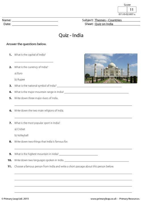 Primaryleap Quiz On India Worksheet India Pinterest