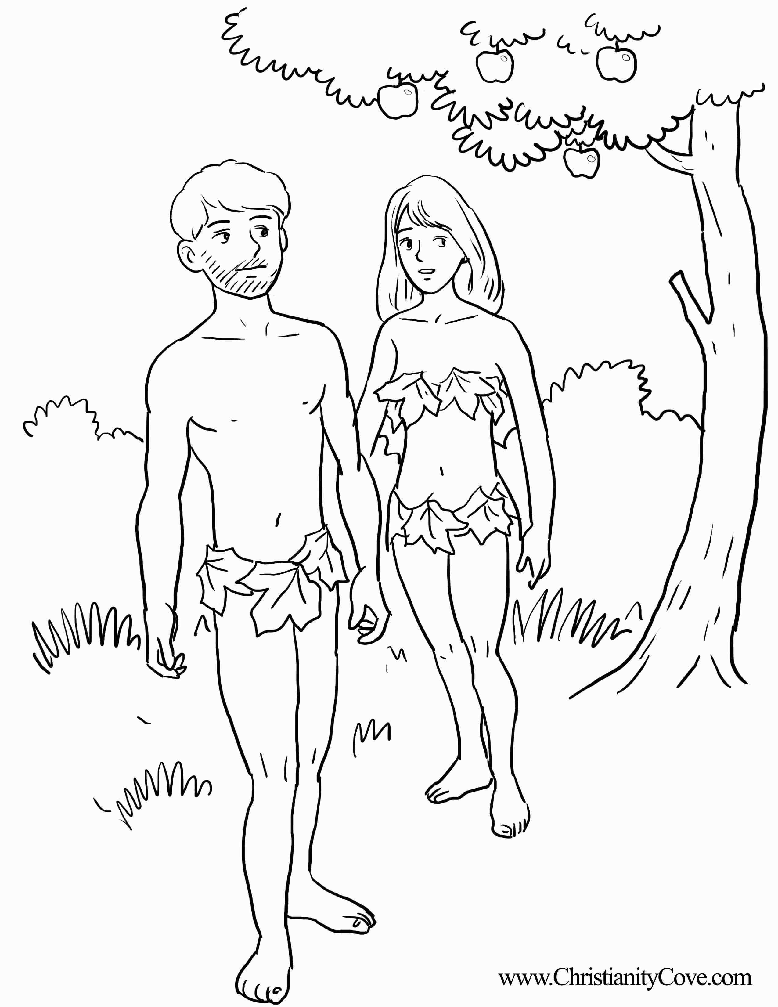 Adam And Eve Bible Coloring Pages Printable