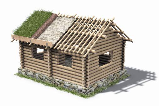 Superbe Stock Illustration : Log Cabin Under Construction (Digital)