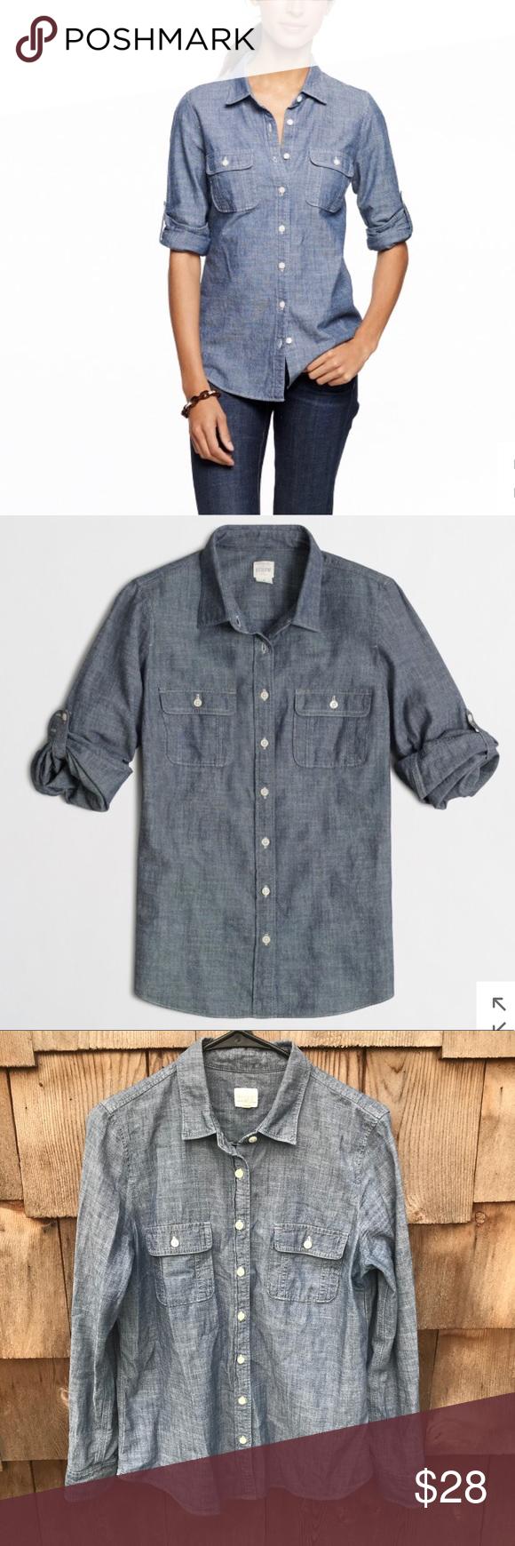 Sold JCrew Two Pocket Chambray Shirt Button Down