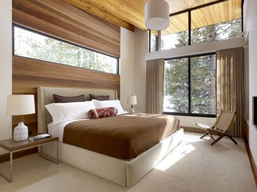 LOVE! Modern bedroom with windowframed out in wood Inspirations