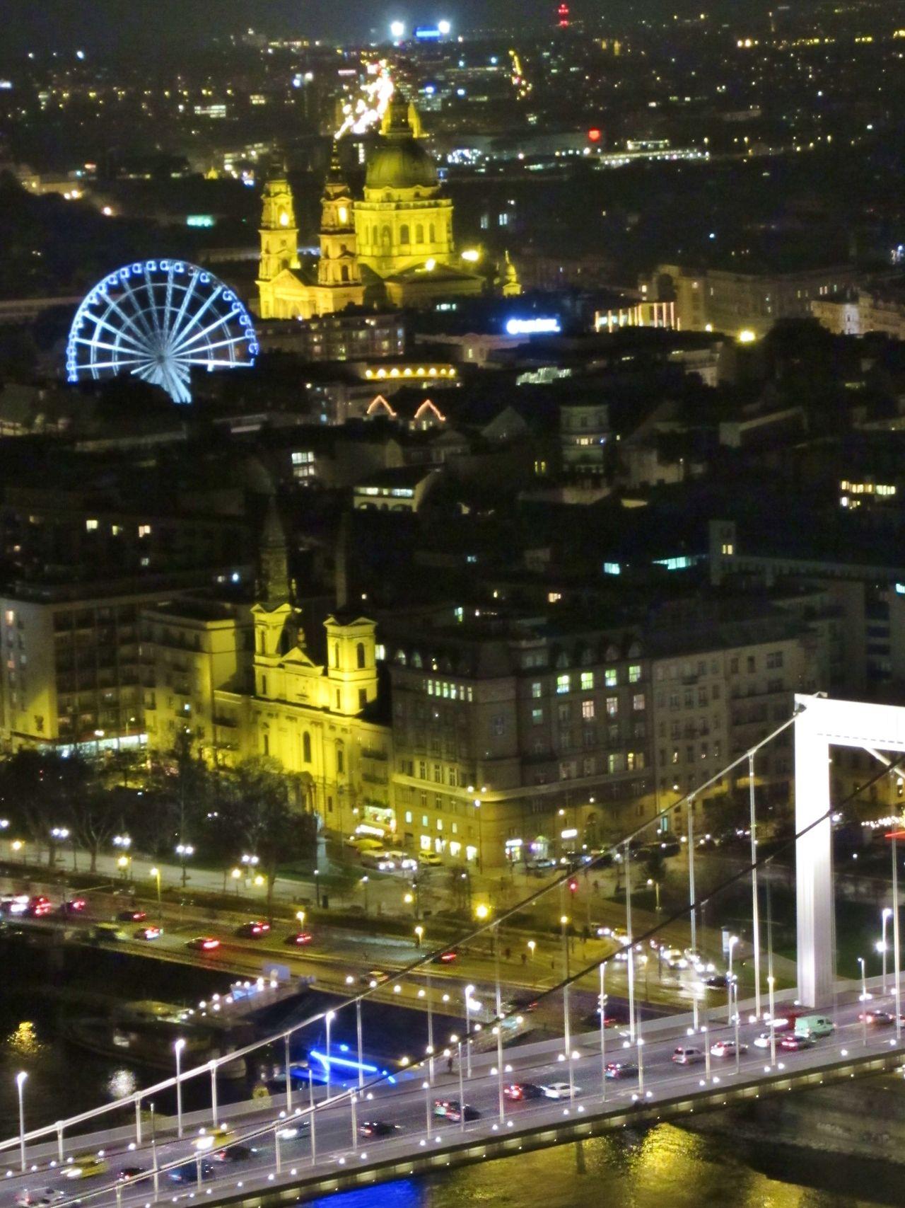 St Stephen Basilica, Ferris Wheel and Elizabeth Bridge at Night, Budapest, Hungary