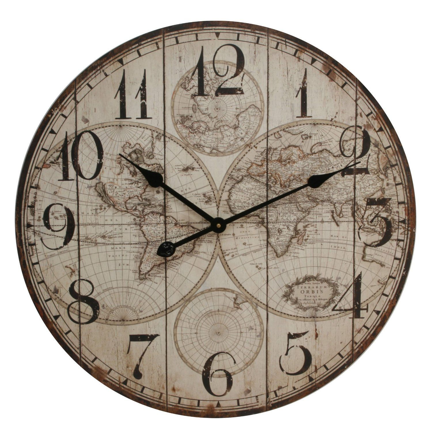 Large rustic wall clock with world map design 60cm diameter large rustic wall clock with world map design 60cm diameter gumiabroncs