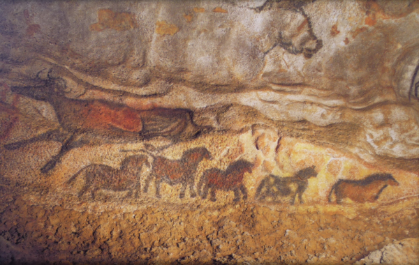 A line of horses dance along the walls. (Photo via nationalgeographic.com)  -- Bays, Duns, and it looks like a Paint.