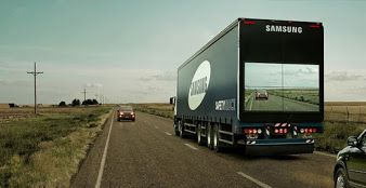 Samsung TV innovative idea isn't just changing lives, it's saving them. This Samsung Truck Shows The Road Ahead On A Screen, So The Tailing Cars Know What's Coming.