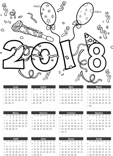 2018 Tek Sayfa Takvimleri | Calendario 2018, Navidad y Escuela