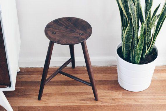 Brilliant Table Height Stool Three Legged Stool In Black Walnut Inzonedesignstudio Interior Chair Design Inzonedesignstudiocom