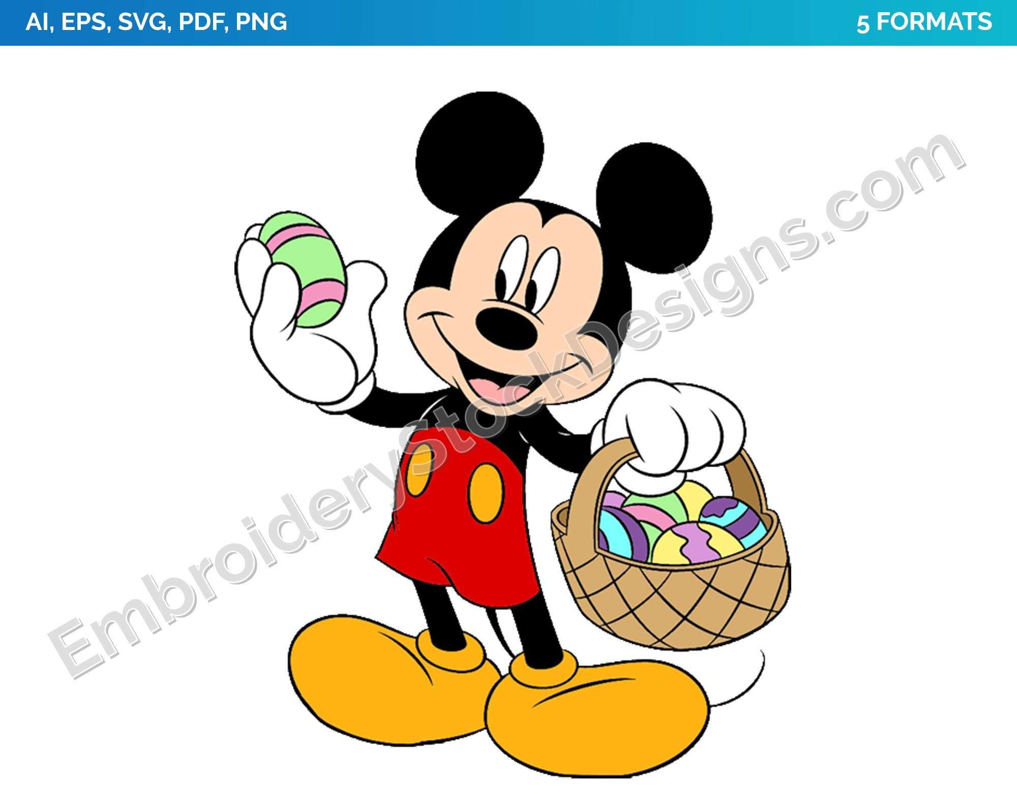 Mickey 7 Easter Holiday Disney Character Designs As Svg Vector For Print In 5 Formats Dsnyh000490 World S Largest Collection Of Embroidery Vector Prin Mickey Easter Mickey Mickey Mouse Art