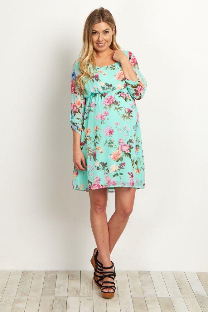 mint floral chiffon maternity dress