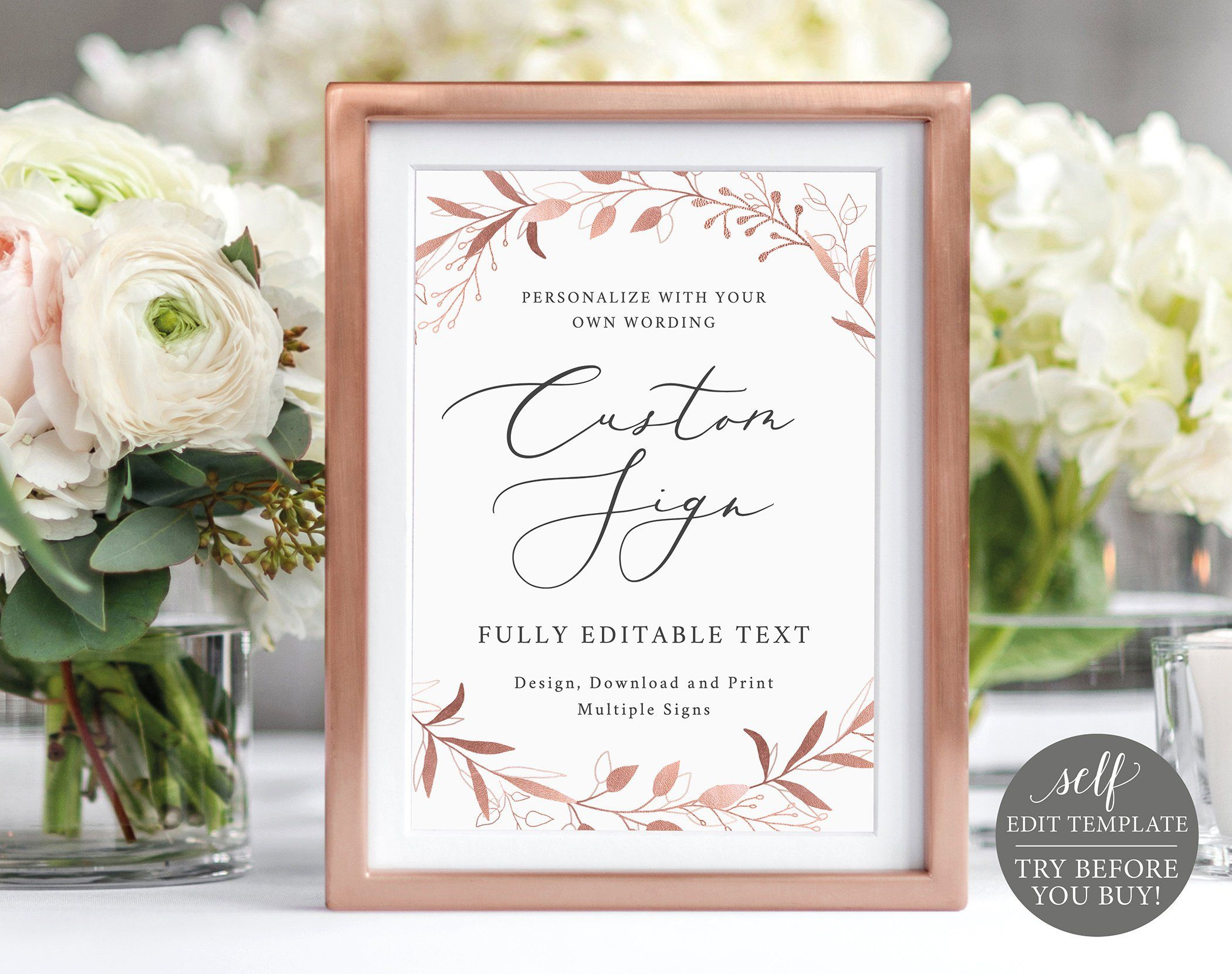 Create Multiple Signs Template, 5x7 Rose Gold Foliage