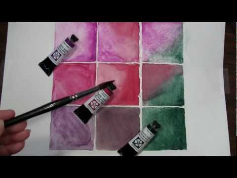 9 Square Paintout of Fuchsia Triad Waterclor by DANIEL SMITH: Artists' Materials