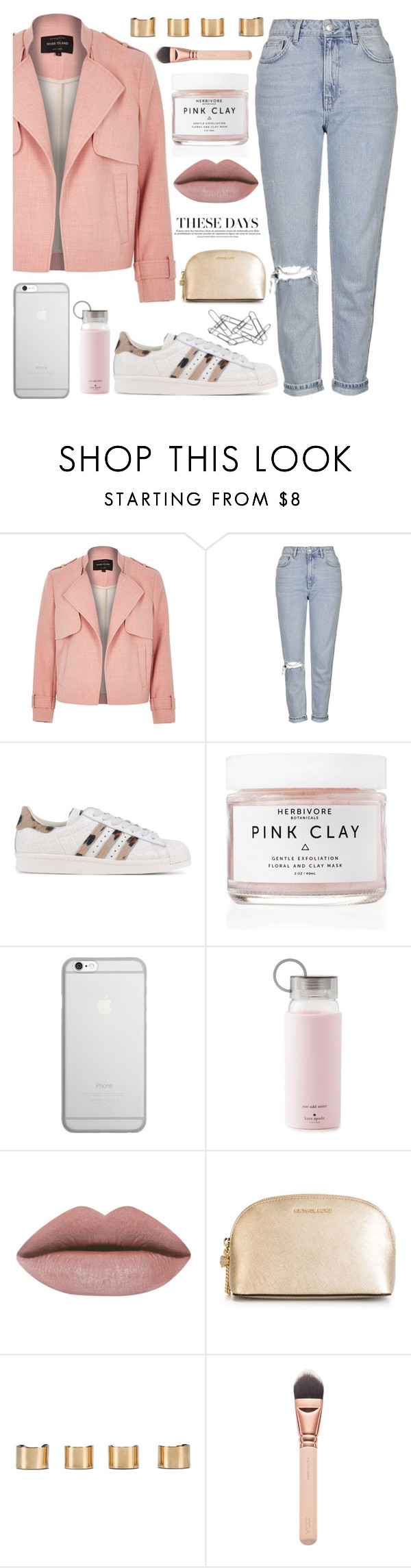 """""""deep deep down,, you have feelings for me..."""" by sweet-jolly-looks ❤ liked on Polyvore featuring River Island, Topshop, adidas Originals, Herbivore Botanicals, Native Union, Kate Spade, MICHAEL Michael Kors, Maison Margiela, Home Decorators Collection and SimpleOutfits"""