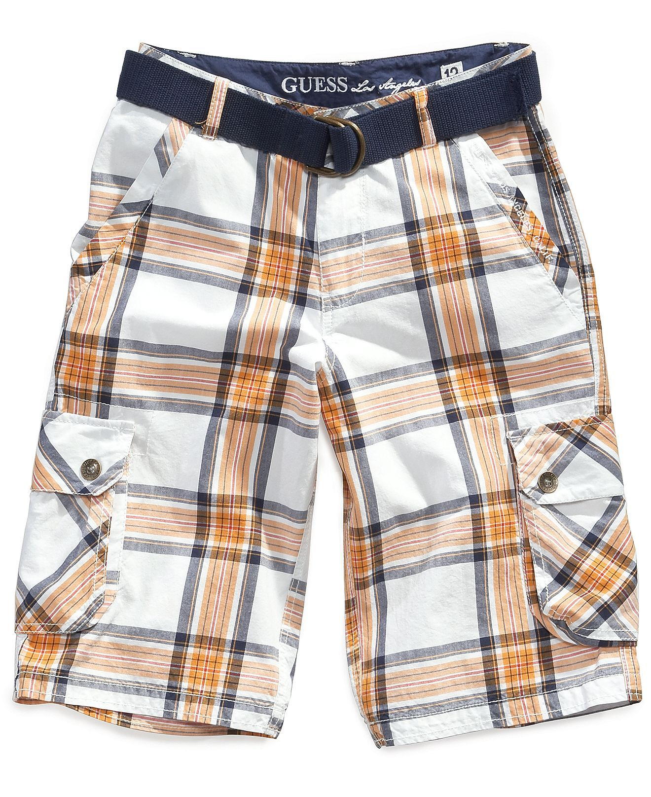 GUESS Kids Shorts Little Boys Anthony Plaid Cargo Shorts Kids