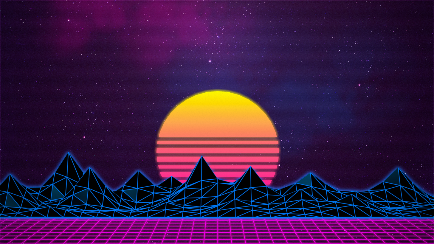 1080x2160 Night, moonlight, mountain, Synthwave and
