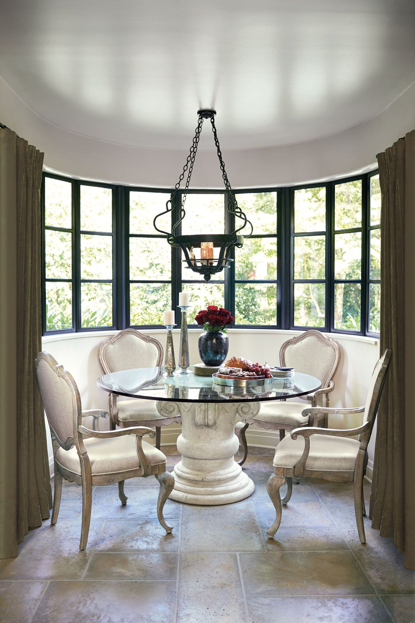 Campania Stone Pedestal Dining Table And Chairs Chairs Design