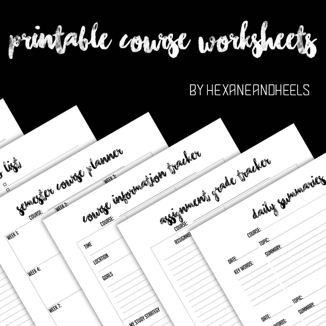 Hexaneandheels Free Printable Course Worksheetsthe