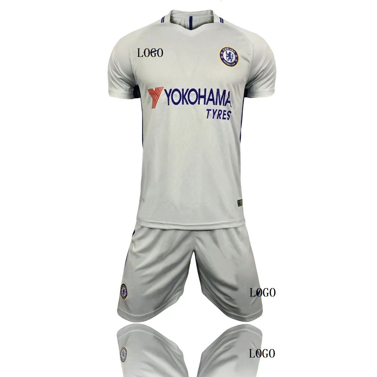 6fae7594aa08c 17 18 Cheap Adult Chelsea Away White Soccer Jersey Blue Uniform Hazard 10  Man Shirt+Short Tracksuit